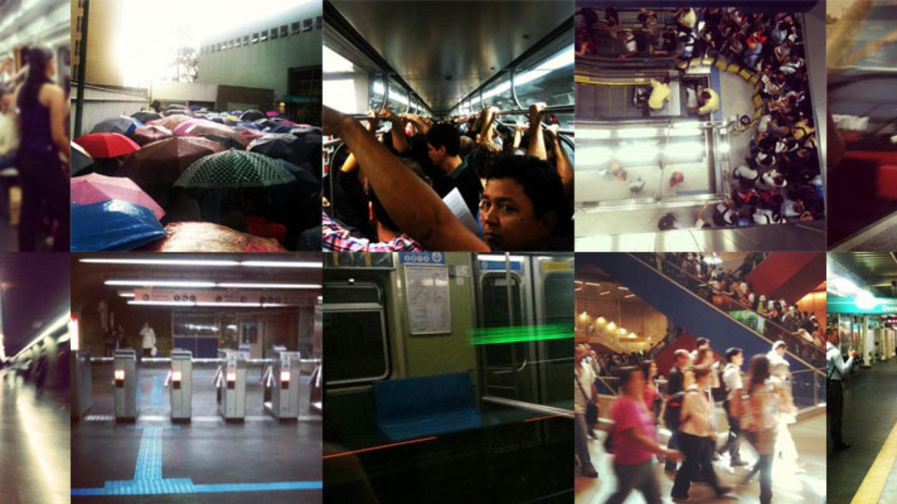 Colagem de fotos minhas do metrô e do trem em SP