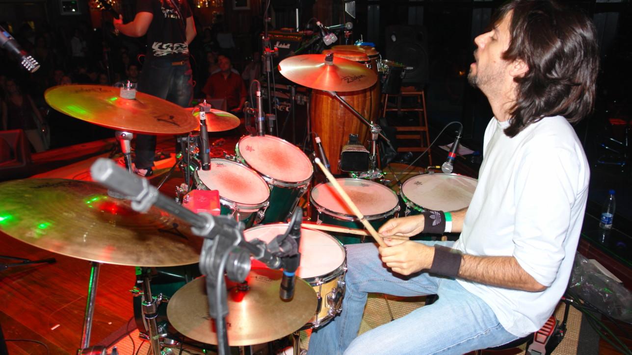"""A """"verdinha"""" montada em todo o seu esplendor em um show do Balboa no Hard Rock Cafe."""